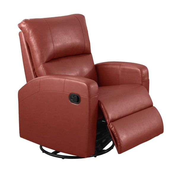 Red Bonded Leather Swivel Recliner Glider Free Shipping