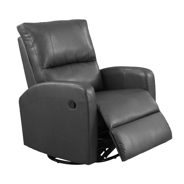 Shop Swivel Glider Charcoal Grey Bonded Leather Recliner