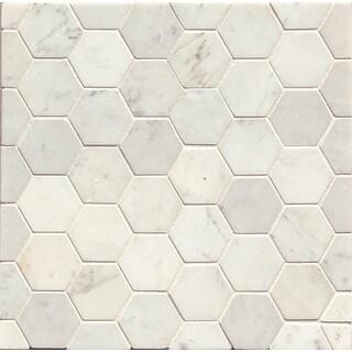 White Carrara Honed Stone Hexagon Mosaic Tile (Box Of 10 Sheets)|https://ak1.ostkcdn.com/images/products/11984342/P18865415.jpg?_ostk_perf_=percv&impolicy=medium