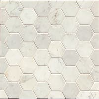 White Carrara Honed Stone Hexagon Mosaic Tile (Box Of 10 Sheets)