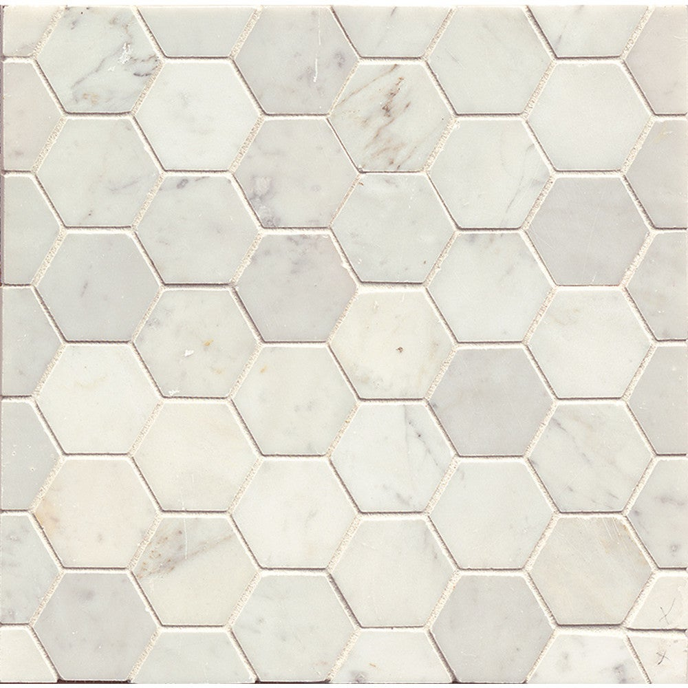 White Carrara Honed Stone Hexagon Mosaic Tile Box Of 10 Sheets