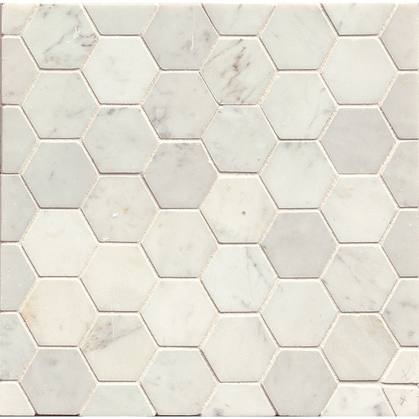 White Carrara Honed Stone Hexagon Mosaic Tile Box Of 10 Sheets