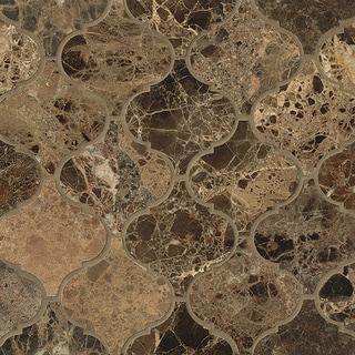 Emperador Dark Arabesque Polstone Mosaic Tile (Pack of 10 Sheets)
