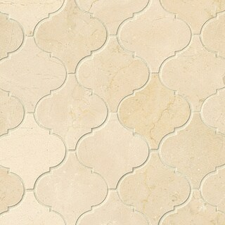 Crema Marfil Pol Stone Arabesque Mosaic Tile (Pack of 10 Sheets)