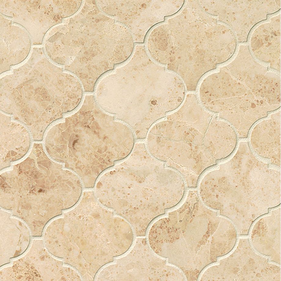 Cuccino Polished Stone Arabesque Mosaic Tile Pack Of 10 Sheets