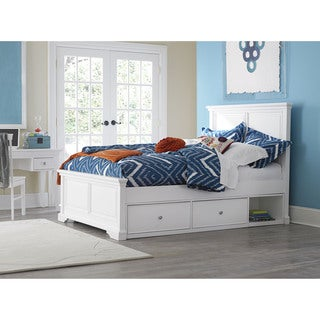 NE Kids Walnut Street Devon White Wood Full-size Panel Bed with Storage