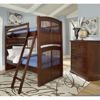 NE Kids Walnut Street Hayden Chestnut Wood Twin Over Twin Bunk Bed