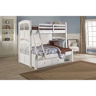 Walnut Street White Wood Twin Over Full Hayden Bunk Bed with Storage