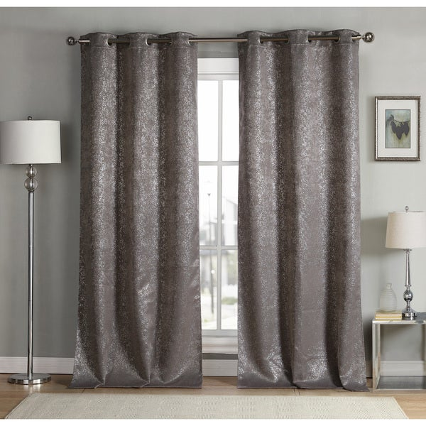 Maddie Metallic Heavy Blackout Grommet Curtain Panel Pair
