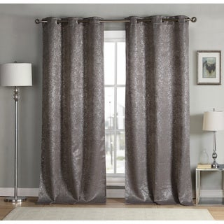 Maddie Metallic Heavy Blackout Grommet Curtain Panel Pair