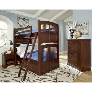 NE Kids Walnut Street Hayden Chestnut Wood Twin-over-twin Bunk Bed with Storage