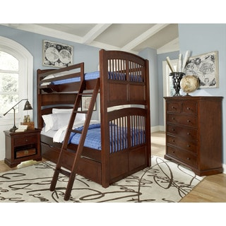 Walnut Street Hayden Chestnut Wood Twin over Twin Bunk Beds with Trundle
