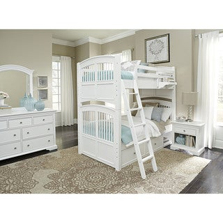Walnut Street White Wood Twin Over Twin Hayden Bunk Bed with Storage