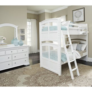 Walnut Street White Wood Twin Over Twin Hayden Bunk Bed