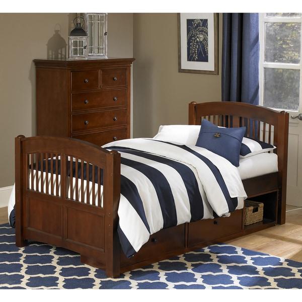 NE Kids Walnut Street Hayden Chestnut Wood Twin Bed with Storage