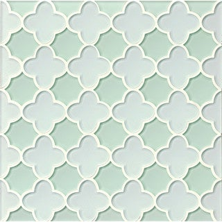 Bedrosians Blue/Green Glass Flora Mosaic White Linen Message Tiles (Pack of 11 Sheets)