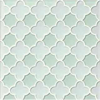 Bedrosians Blue/Green Glass Flora Mosaic White Linen Message Tiles (Pack of 11 Sheets)
