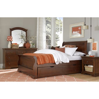 NE Kids Walnut Street Chestnut Riley Sleigh Full Bed with Trundle