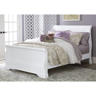 Walnut Street Full Riley White Wood Sleigh Bed with Storage