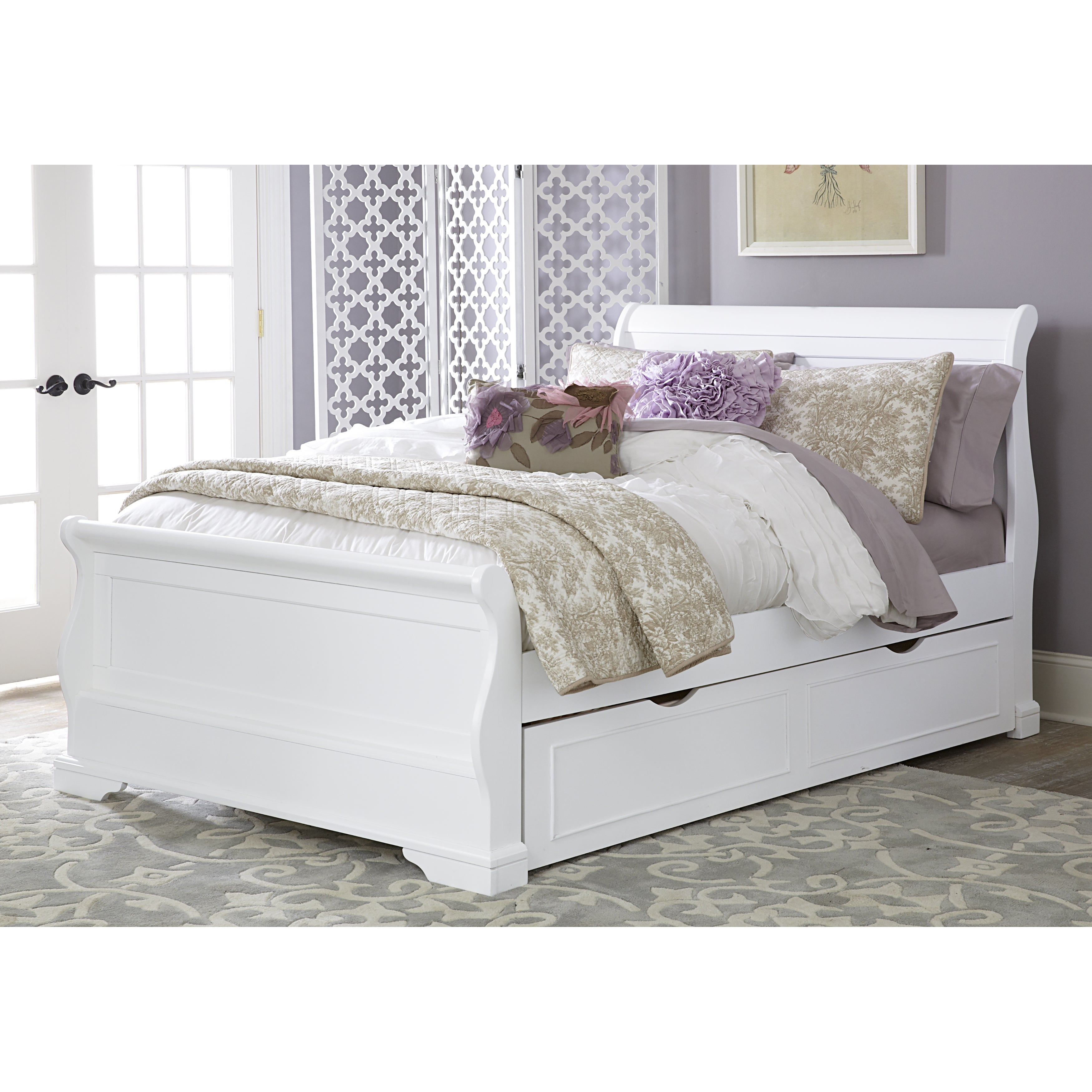 Shop Walnut Street White Wood Full Riley Sleigh Bed With Trundle Overstock 11984466