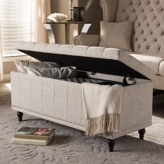 Baxton Studio Alexio Modern Classic Beige Fabric Upholstered Button-Tufting Storage Ottoman Bench