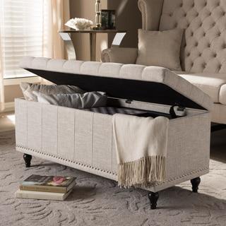 Baxton Studio Alexio Modern Classic Beige Fabric Upholstered Button-Tufting Storage Ottoman Bench