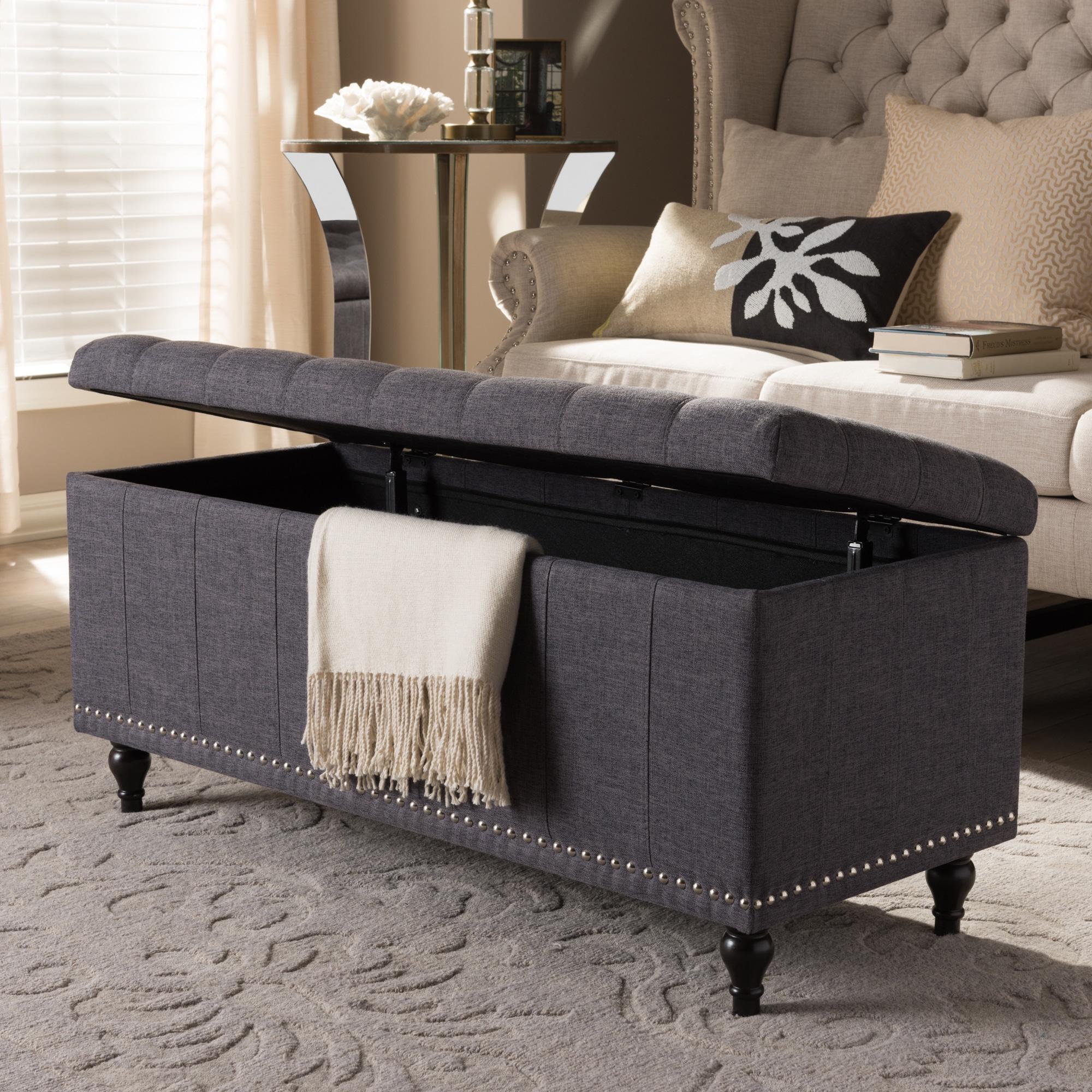 Baxton Studio Alexio Modern Classic Dark Grey Fabric Upholstered Button Tufting Storage Ottoman Bench