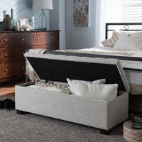 Baxton Studio Alcmene Modern and Contemporary Beige Fabric Upholstered Grid-Tufting Storage Ottoman Bench