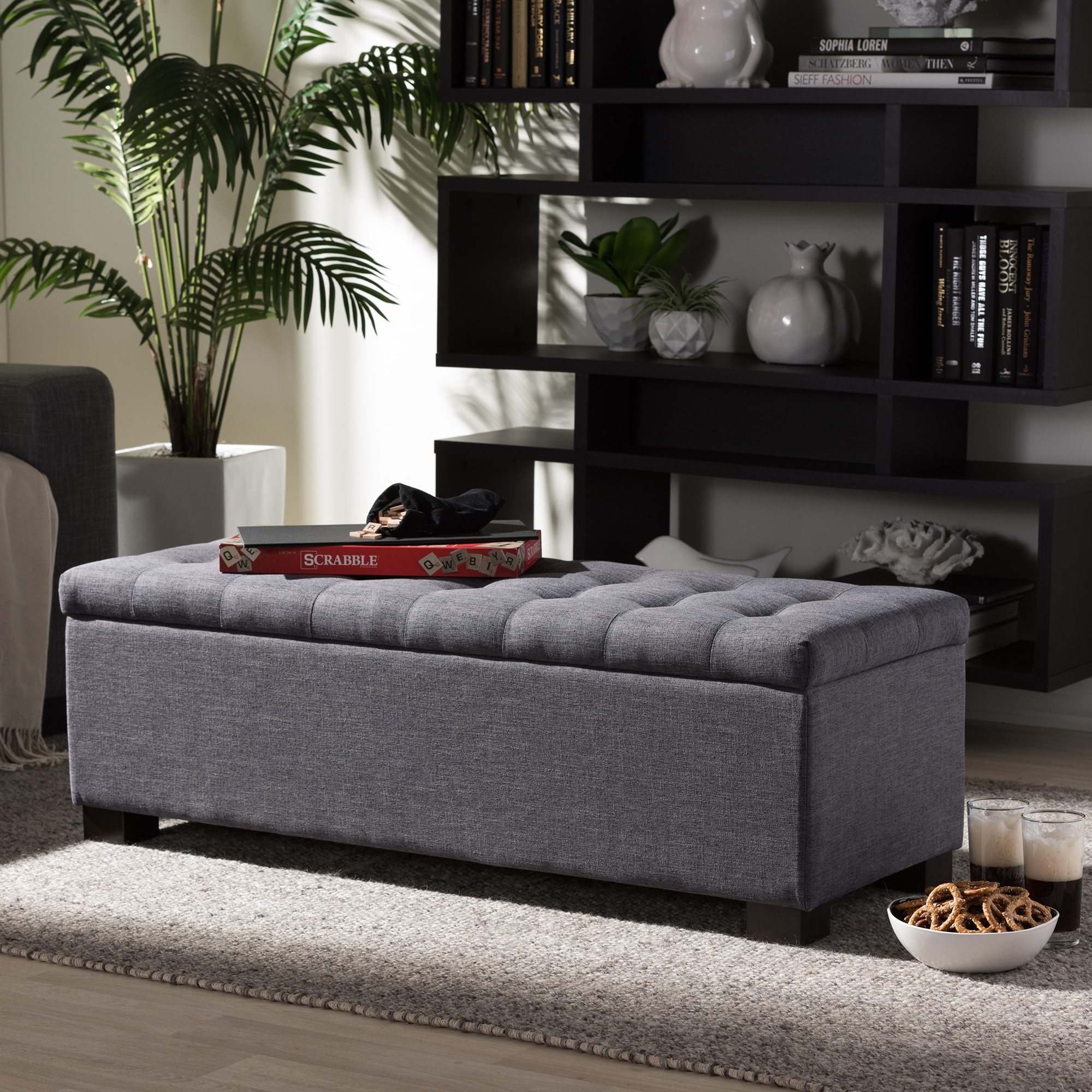 Baxton Studio Alcmene Modern And Contemporary Dark Grey Fabric Upholstered Grid Tufting Storage Ottoman Bench