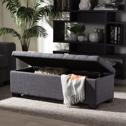 Baxton Studio Alcmene Dark Grey Fabric Tufted Storage Ottoman Bench