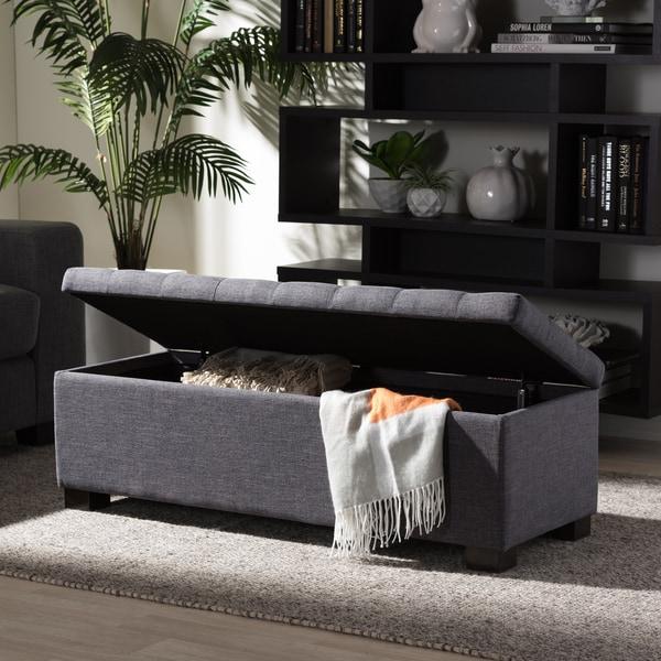 Baxton Studio Alcmene Modern and Contemporary Dark Grey Fabric Upholstered Grid-Tufting Storage Ottoman Bench
