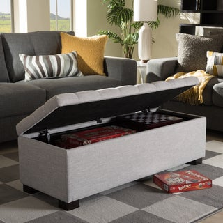 Baxton Studio Alcmene Modern and Contemporary Grayish Beige Fabric Upholstered Grid-Tufting Storage Ottoman Bench