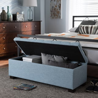 Baxton Studio Alcmene Modern and Contemporary Light Blue Fabric Upholstered Grid-Tufting Storage Ottoman Bench