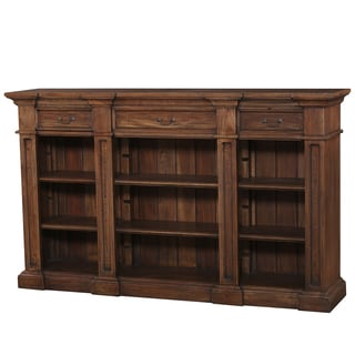 Bramble Co. Genoa Antique French Crackle Mahogany 3-drawer Open Bookcase