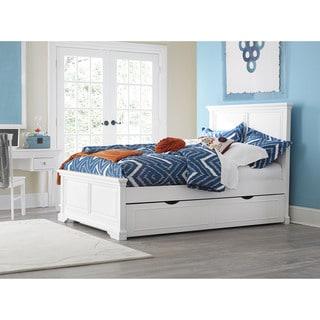 NE Kids Walnut Street Devon White Wood Full Trundle Panel Bed