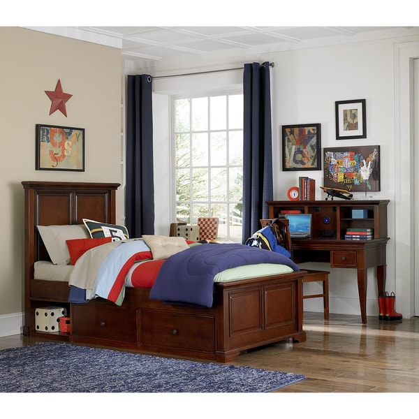 NE Kids Walnut Street Devon Wood Twin Storage Panel Bed