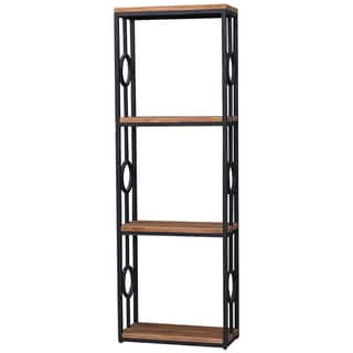 Bramble Co. Urban 4-tier Midnight/ Driftwood Metal-Wood Bookcase