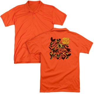 Batman/Trick or Treat Collage (Back Print) Mens Regular Fit Polo in Orange