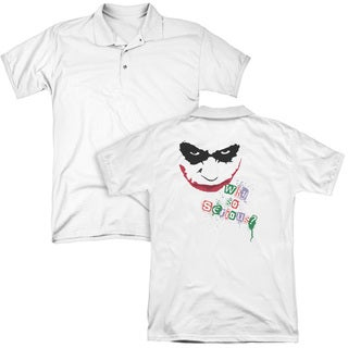 Dark Knight/Too Serious (Back Print) Mens Regular Fit Polo in White
