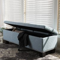 Copper Grove Mendocino Modern and Contemporary Light Blue Fabric Upholstered Button-Tufting Storage Ottoman Bench