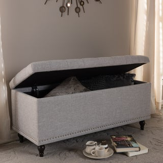 Baxton Studio Alexio Modern Classic Grayish Beige Fabric Upholstered Button-Tufting Storage Ottoman Bench