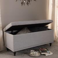 Baxton Studio Alexio Modern Classic Grayish Beige Fabric Upholstered Button-Tufting Storage Ottoman Bench