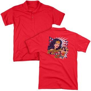 DCO/Pop Art Wonder (Back Print) Mens Regular Fit Polo in Red