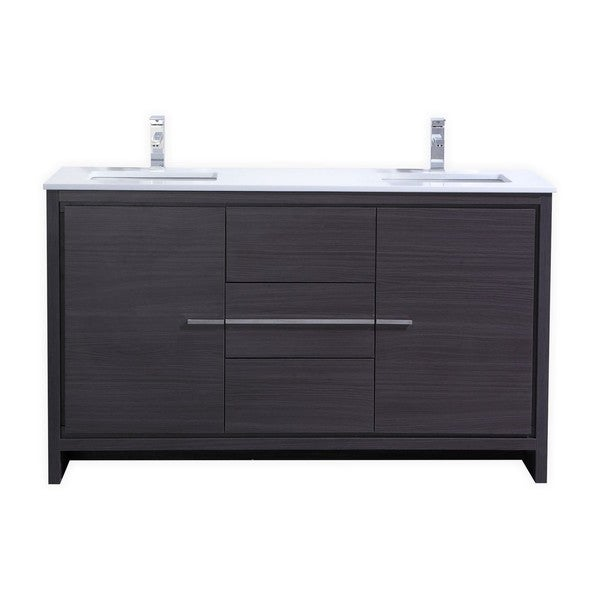 59 Inch Bathroom Vanity Part - 44: KubeBath Dolce 59-inch Double Sink Bathroom Vanity - Free Shipping Today -  Overstock.com - 18865688