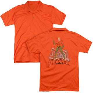 DC/Aquaman Distressed (Back Print) Mens Regular Fit Polo in Orange