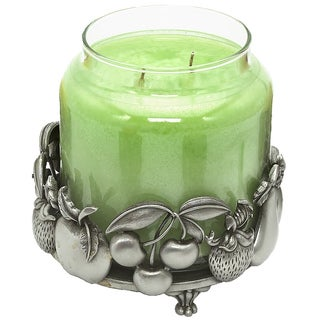 Pewter Fruit 2.5-inch x 4-inch Holder for Candle/Jar/Bottle