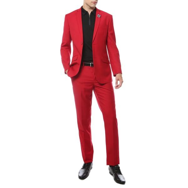 Ferrecci Premium Mod Bright-colored 2-piece Slim-fit Suit