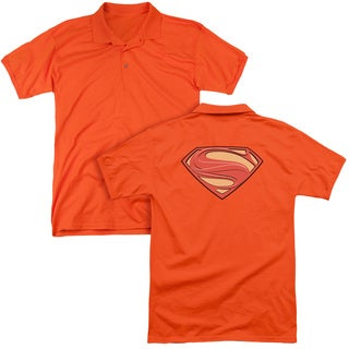 Man Of Steel/New Solid Shield (Back Print) Mens Regular Fit Polo in Orange