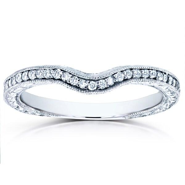 Annello by Kobelli 14k White Gold 1/6ct TDW Round Diamond Antique Contoured Wedding Band
