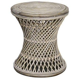 Keala Brown/Off-white Rattan Round Stool